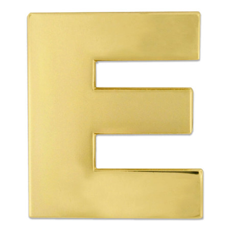 Gold E Pin Front