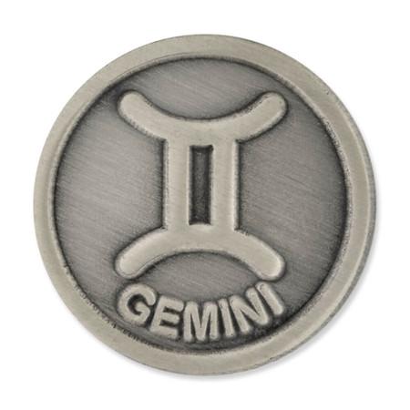 Antique Silver Gemini Zodiac PIn Front