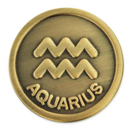 Antique Gold Aquarius Zodiac Pin Front