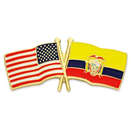 USA and Ecuador Flag Pin Front