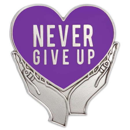 Never Give Up Pin Purple Front