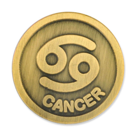 Antique Gold Cancer Zodiac Pin Front