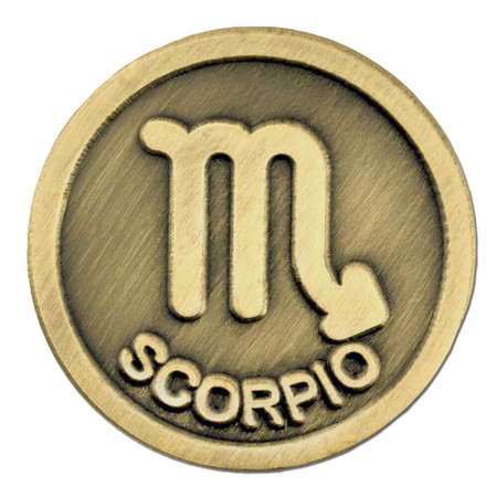 Antique Gold Scorpio Zodiac Pin Front