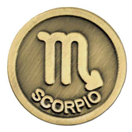Antique Gold Scorpio Zodiac Pin Front