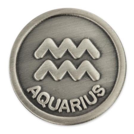 Antique Silver Aquarius Zodiac Pin Silver