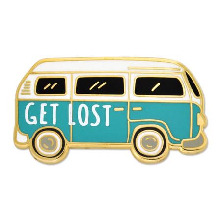 Get Lost Hippie Van Pin Front