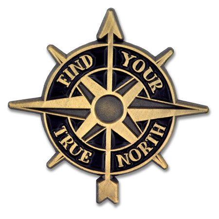 Find Your True North Compass Pin Front