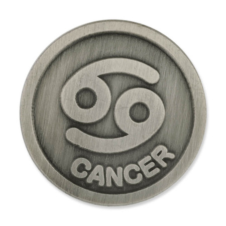 Antique Silver Cancer Zodiac Pin Front