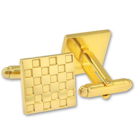 Square Checks Cufflink Set Alt Gold