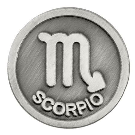 Antique Silver Scorpio Zodiac Pin Front