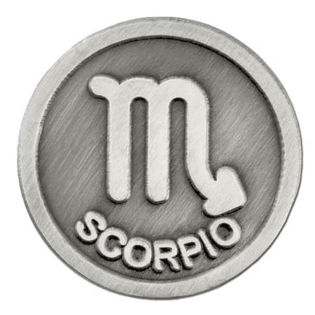 Antique Silver Scorpio Zodiac Pin Front