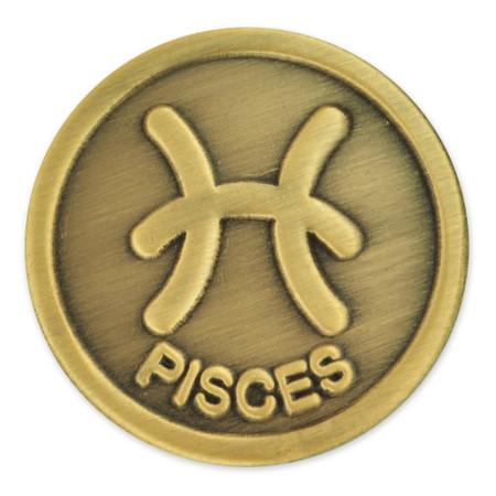 Antique Gold Pisces Zodiac Pin Front