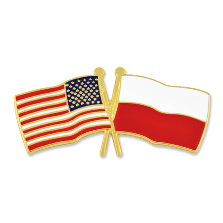USA and Poland Flag Pin Front