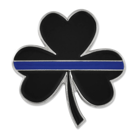 Thin Blue Line Shamrock Pin Front