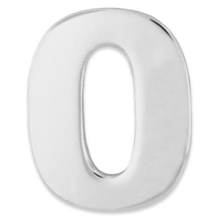 Silver Number 0 Pin Front