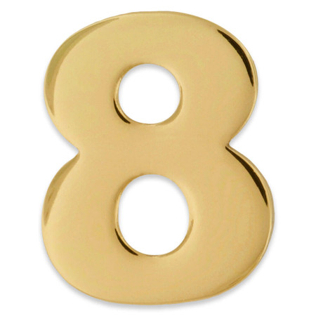 Gold Number 8 Pin Front