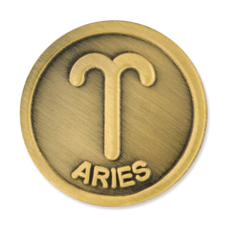 Antique Gold Aries Zodiac Pin Front