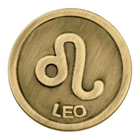 Antique Gold Leo Zodiac Pin Front
