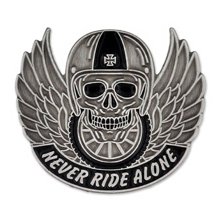 Never Ride Alone Pin Front