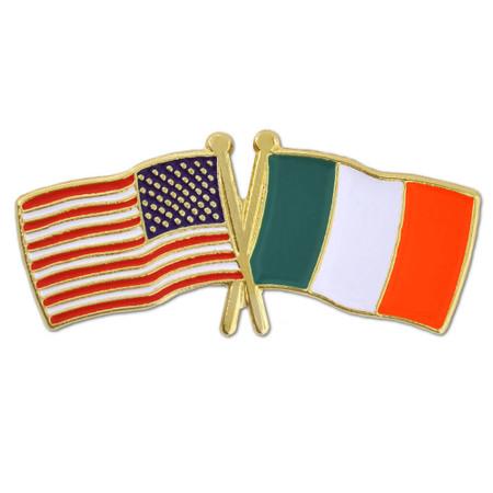 USA and Ireland Flag Pin Front