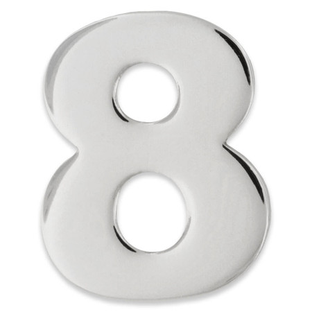 Silver Number 8 Pin Front