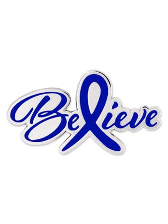Believe Blue Awareness Pin Front