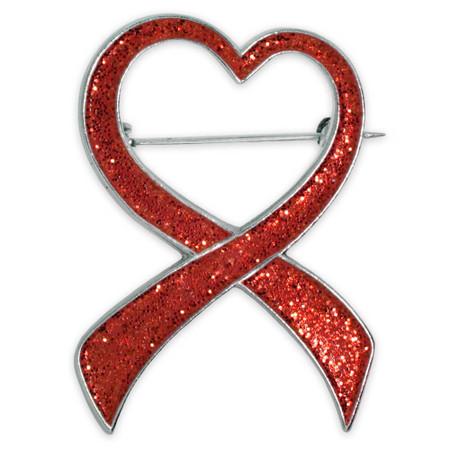 Red Glitter Heart Ribbon Brooch Front