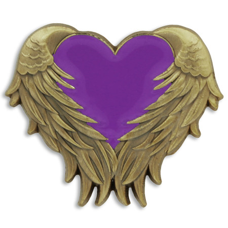Purple Heart with Wings Pin Front