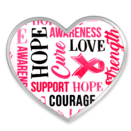 Breast Cancer Heart Words Pin