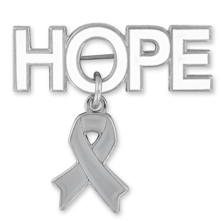 Hope Pin with Grey Ribbon Charm