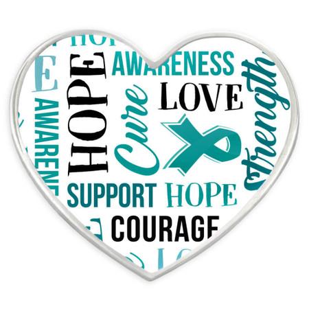 Teal Heart Awareness Words Pin Front