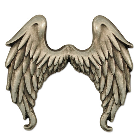 Antique Silver Angel Wings Pin Front
