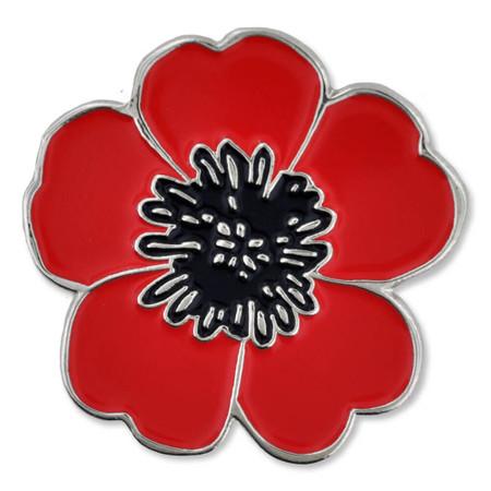 Poppy Flower Lapel Pin Front