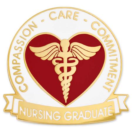 Nursing Graduate Pin - Compassion, Care, Commitment Front