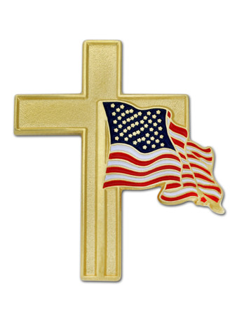 American Flag and Gold Cross Pin