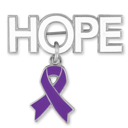 Hope Pin with Purple Ribbon Charm