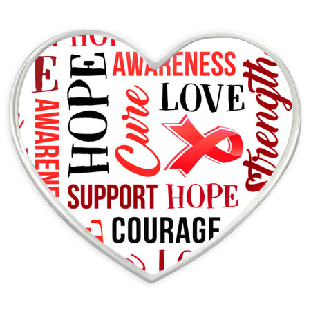 Red Heart Awareness Words Pin Front