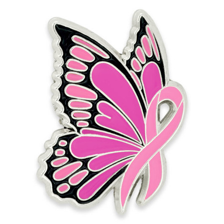 Pink Ribbon Butterfly Pin Front