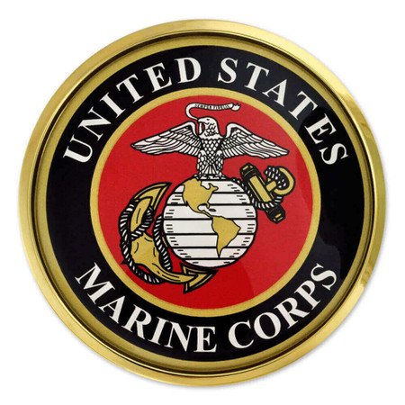 Officially Licensed U.S. Marines Chrome Emblem Decal Front