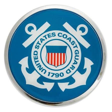 U.S. Coast Guard Chrome Emblem Decal Front