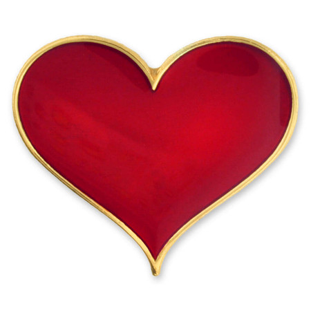 Red Heart Pin Magnetic Back Front