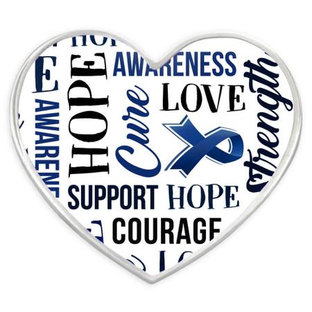 Blue Heart Awareness Words Pin Front