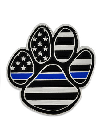 Thin Blue Line Pawprint Pin Front