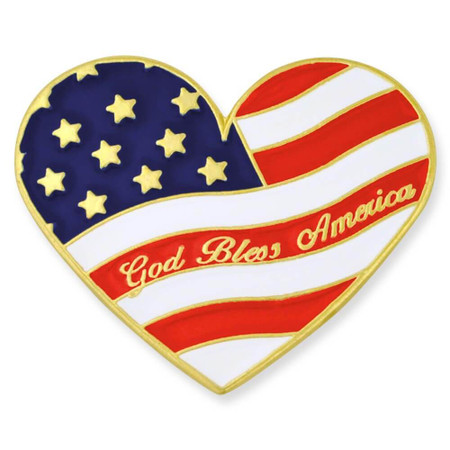 Heart Shaped Flag Pin