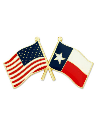 Texas and USA Crossed Flag Pin Front