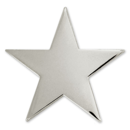 Silver Star Pin with Magnetic Back Front