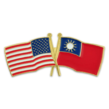 USA and Taiwan Crossed Flag Pin Front