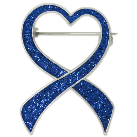Blue Glitter Heart Ribbon Pin Front