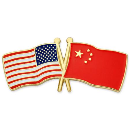 USA and China Flag Pin Front