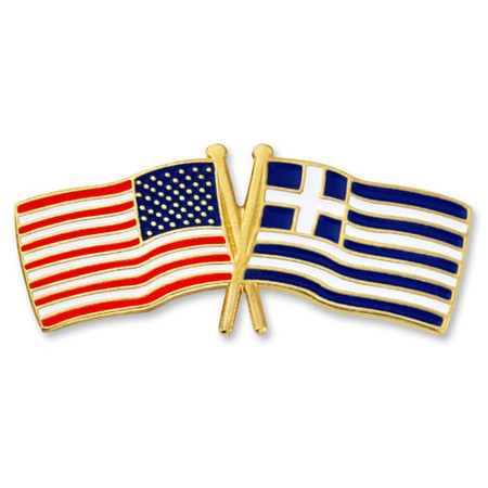 USA and Greece Flag Pin Front